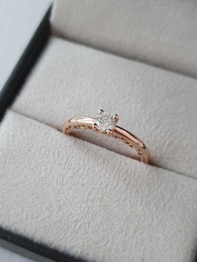 anel de noivado em ouro rosé 18k