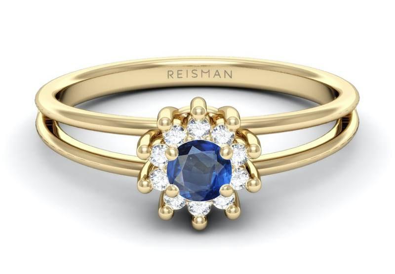 anel de noivado safira e diamantes