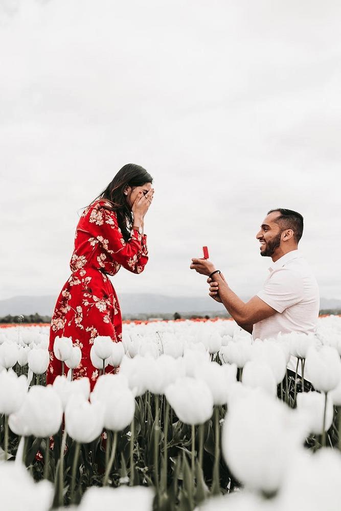pedido de casamento em campo de flores