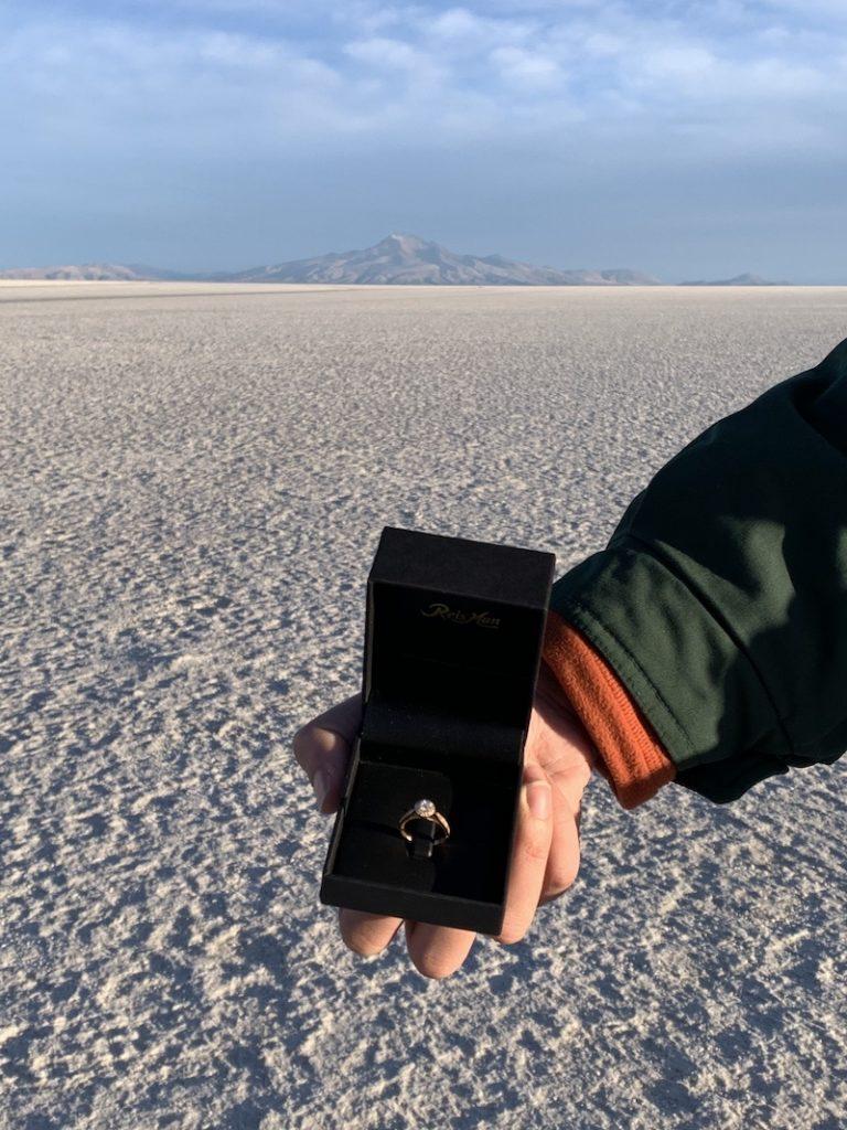 Pedido de casamento em viagem