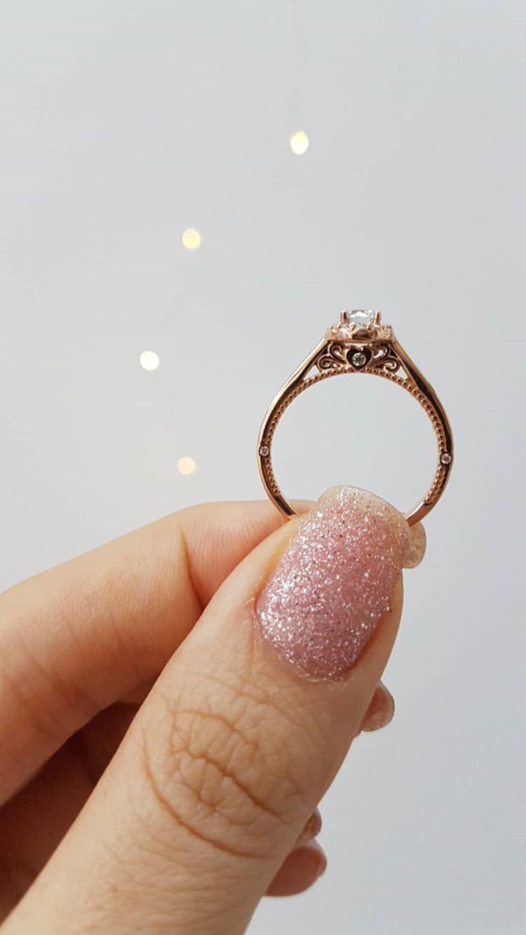 anel de noivado amore mio rose