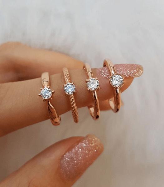 anel de noivado ouro rosé