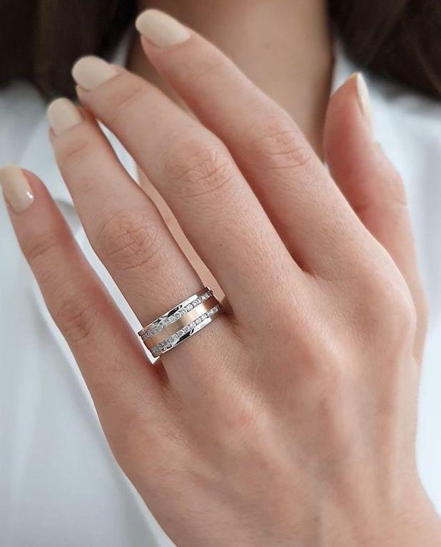 aliança de casamento em ouro rosé e branco
