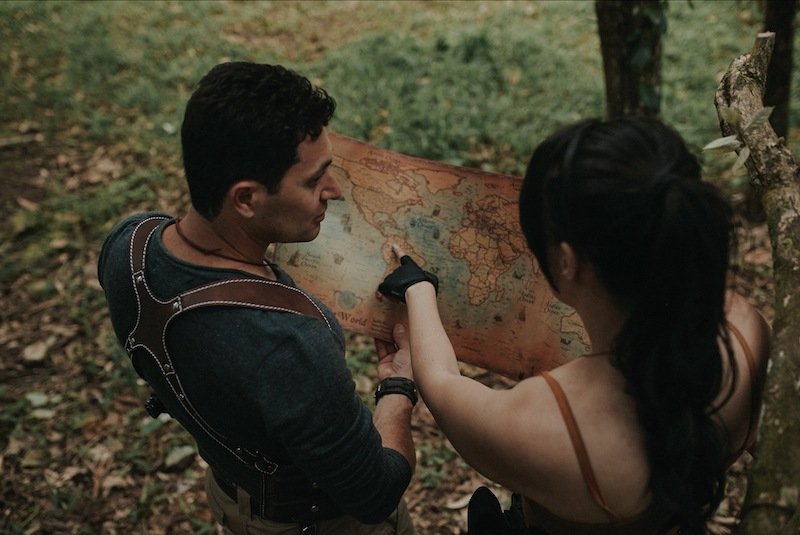 foto casal e mapa