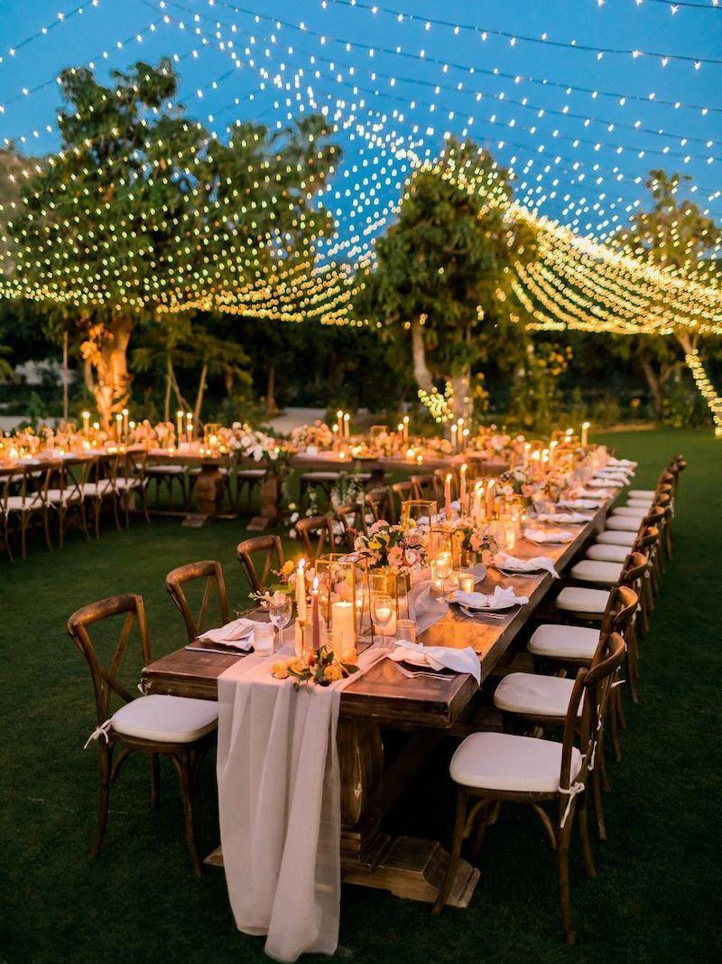 iluminação para casamento ao ar livre