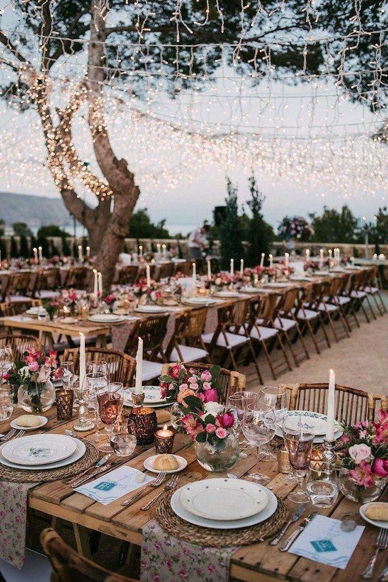festa de casamento de dia com luzes