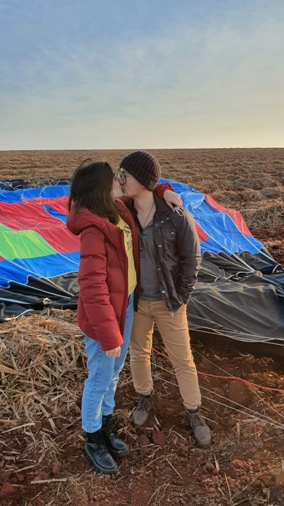 pedido de casamento em um balão
