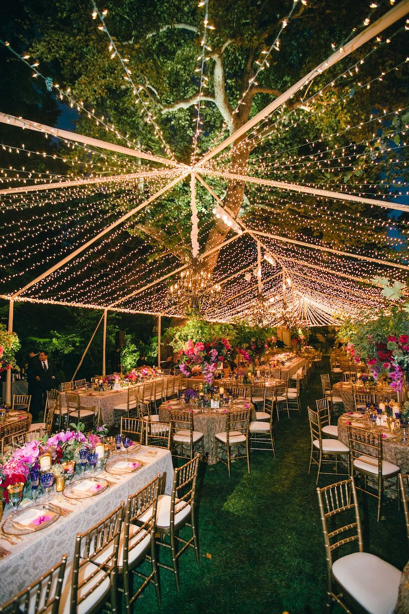 decoração iluminada para casamento