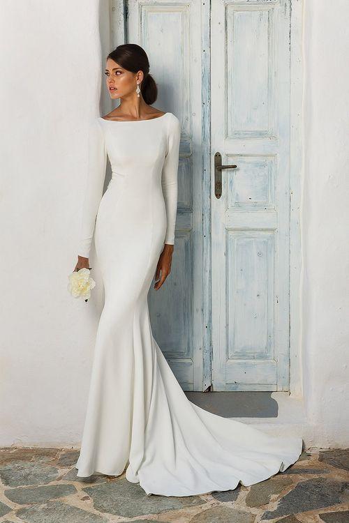 vestido de noiva básico com mangas