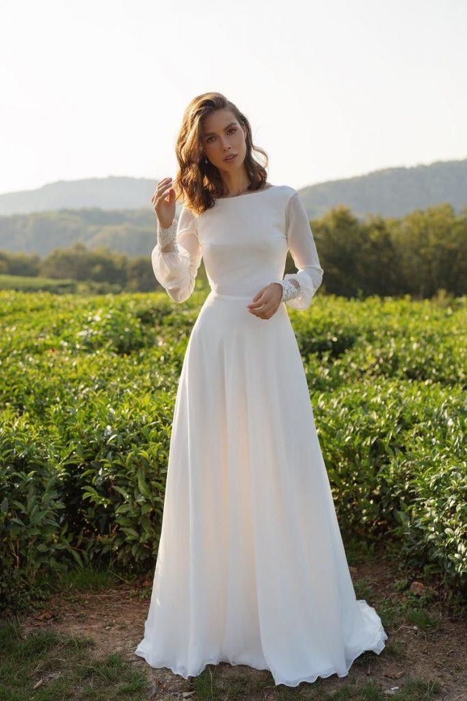 vestido de noiva simples e com mangas