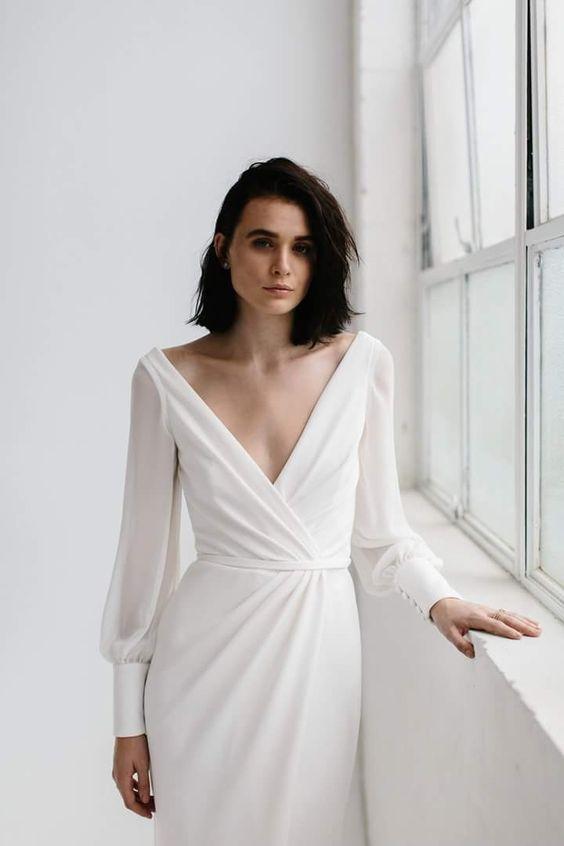 vestido de noiva básico branco