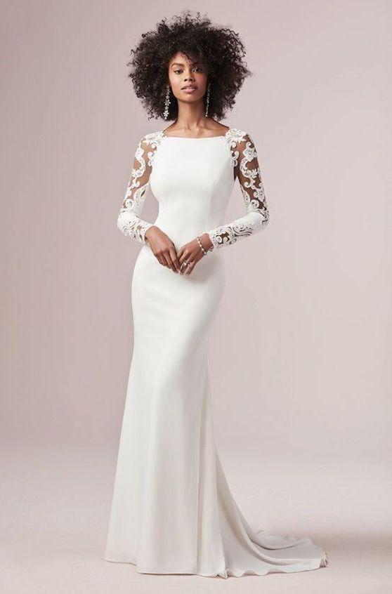 vestido de noiva com manga básico