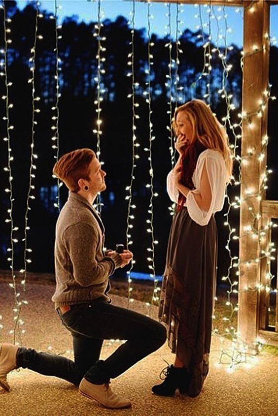 pedido de casamento com luzes de natal