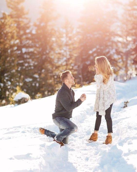 pedido de casamento na neve
