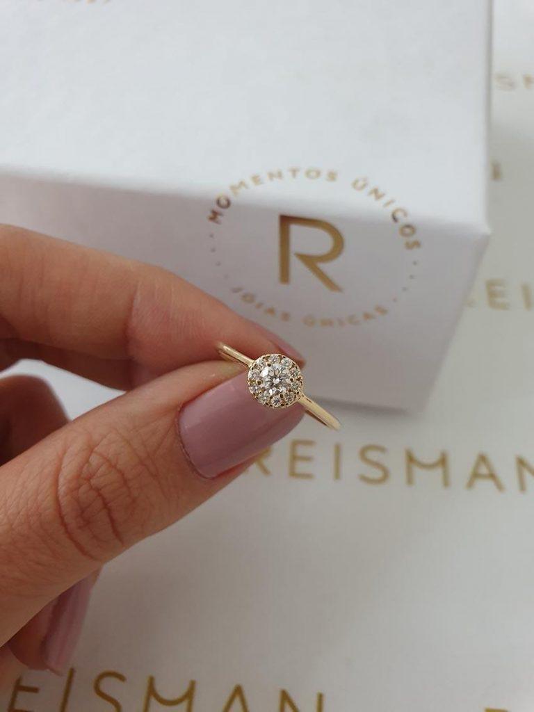 anel de noivado estilo Halo Ring