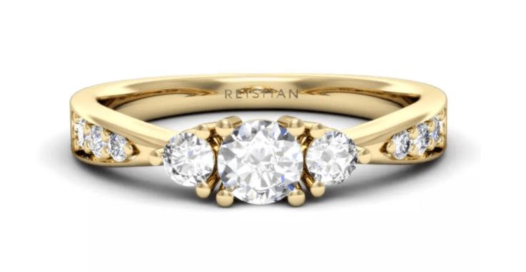 tipo de anel de noivado com 3 diamantes