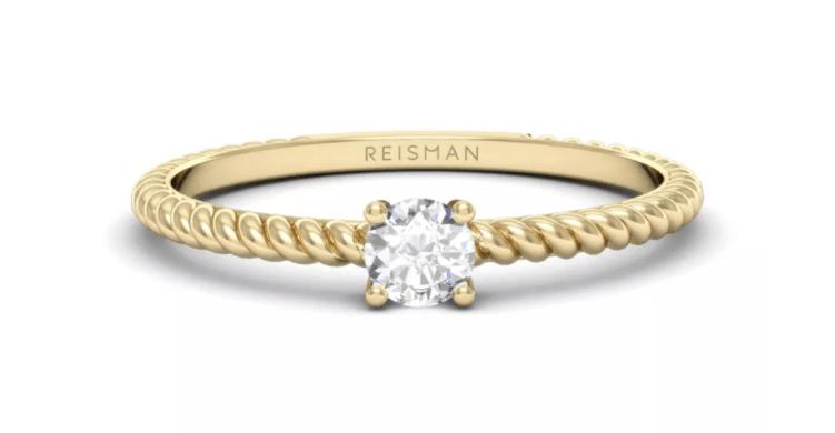 anel de noivado com aro moderno