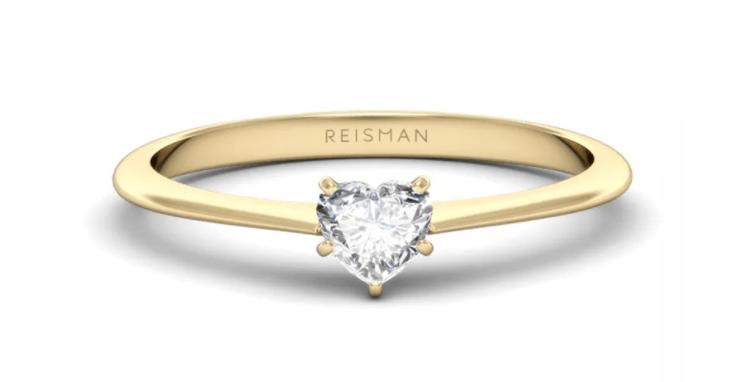 anel de noivado lapidação coração