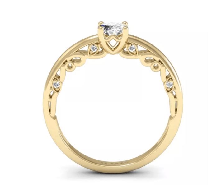 anel solitário com lateral adornada
