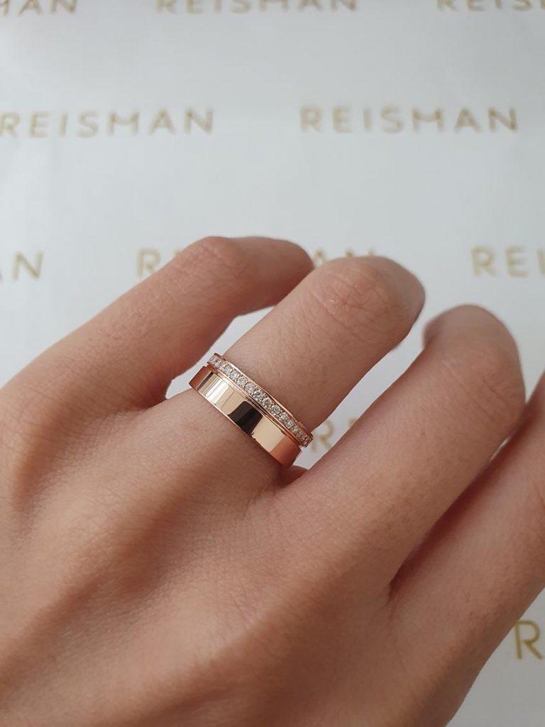 aliança de casamento em ouro rosé 18k