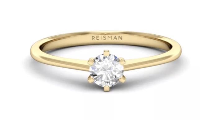 anel de noivado estilo solitário clássico