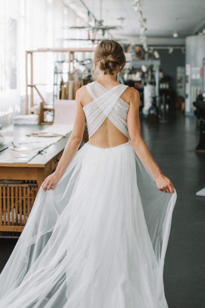 vestido de noiva liso com decote