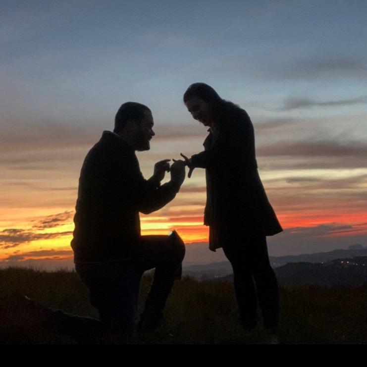 pedido de casamento por do sol