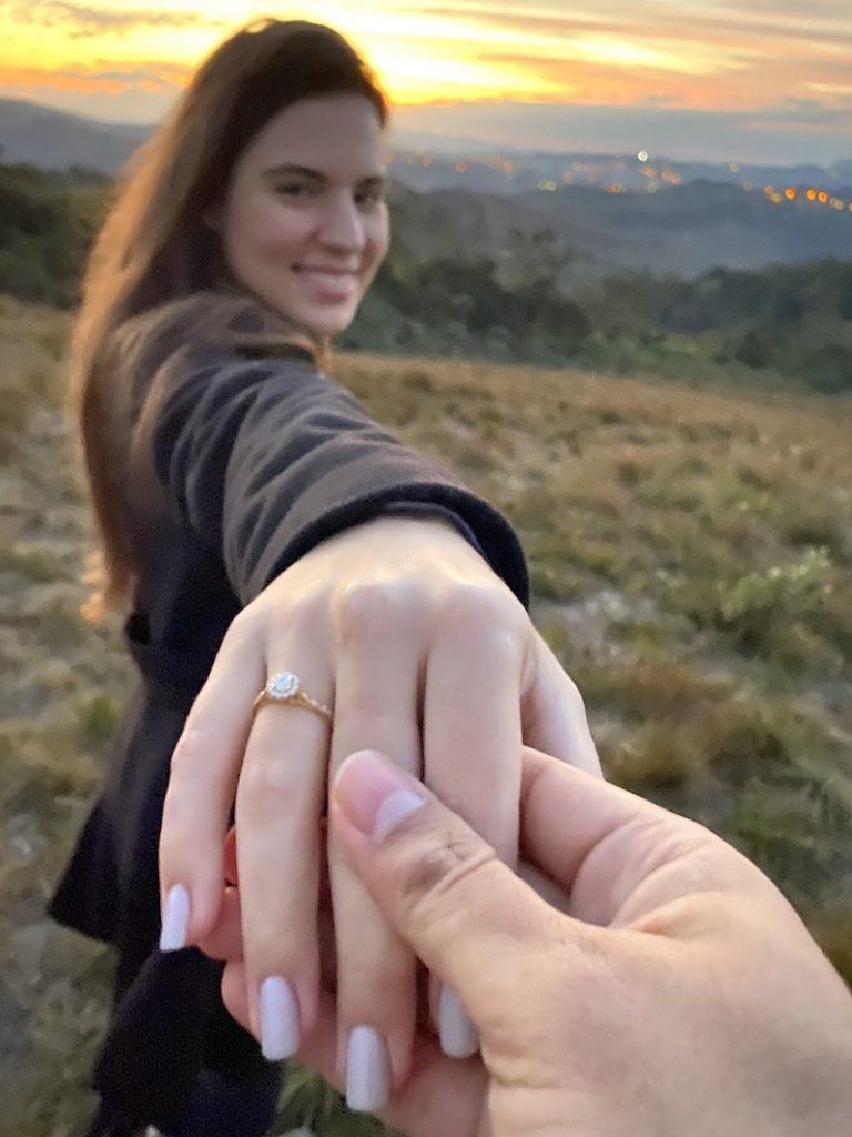 pedido de casamento com pôr do sol