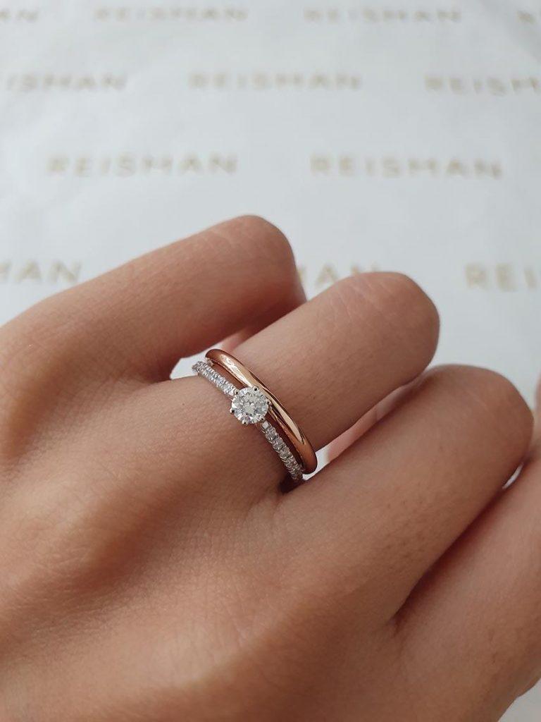 anel ouro branco com aliança ouro rosé