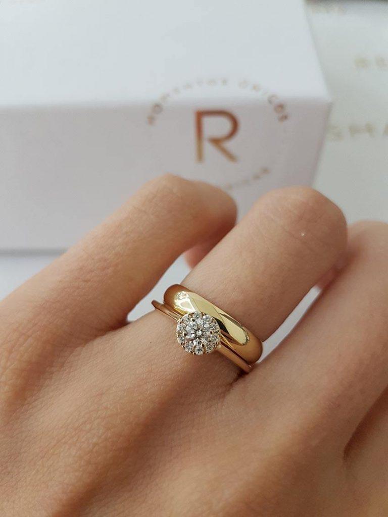 anel combinado com aliança em ouro 18k