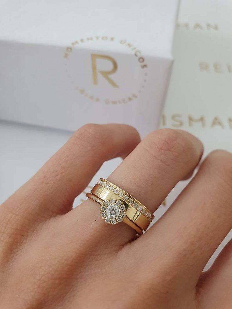 anel halo ring com aliança de casamento