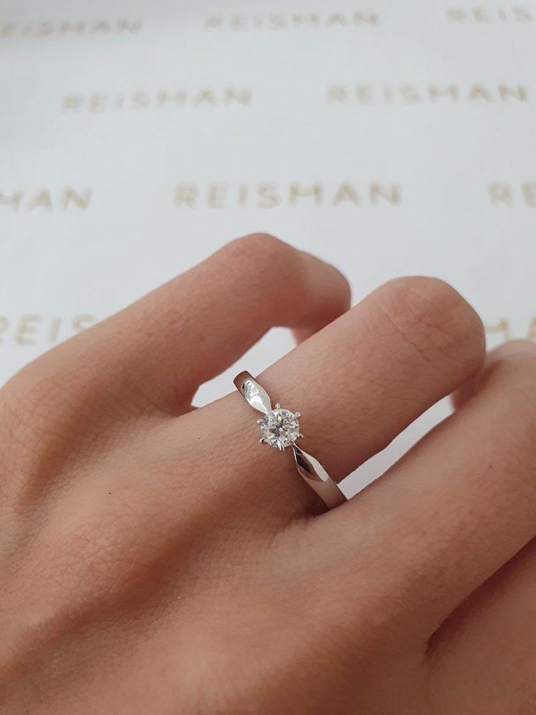anel de noivado em ouro branco 18k