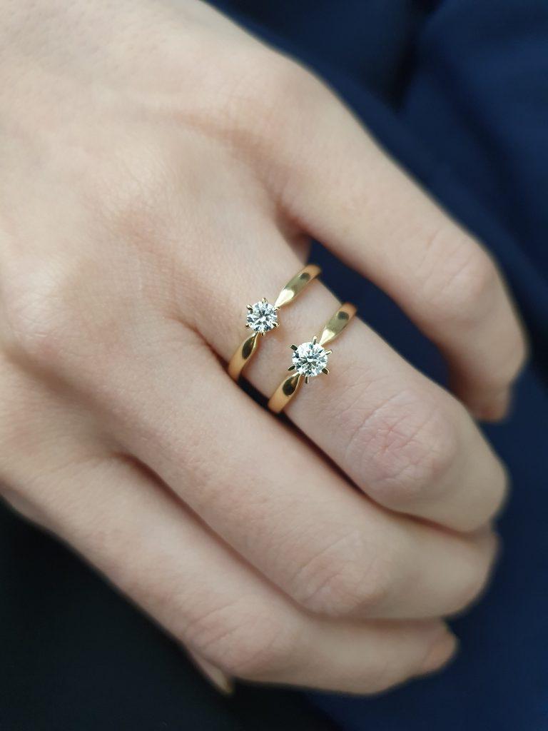 anéis de noivado com diamantes