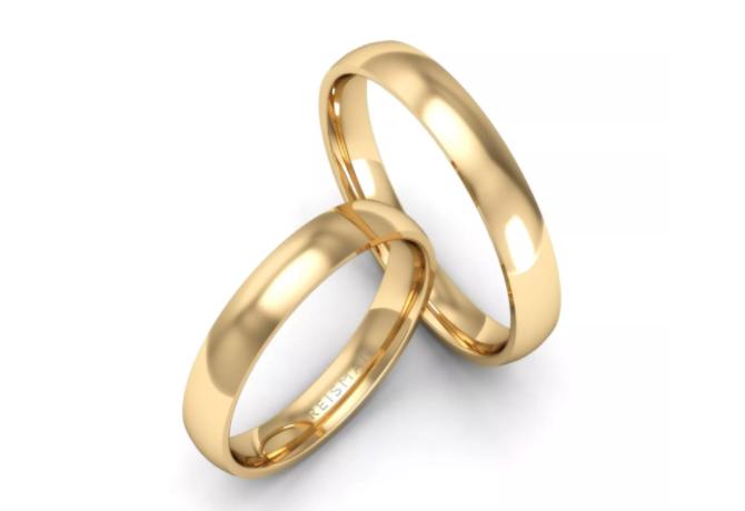 alianças de casamento tradicionais e confortáveis