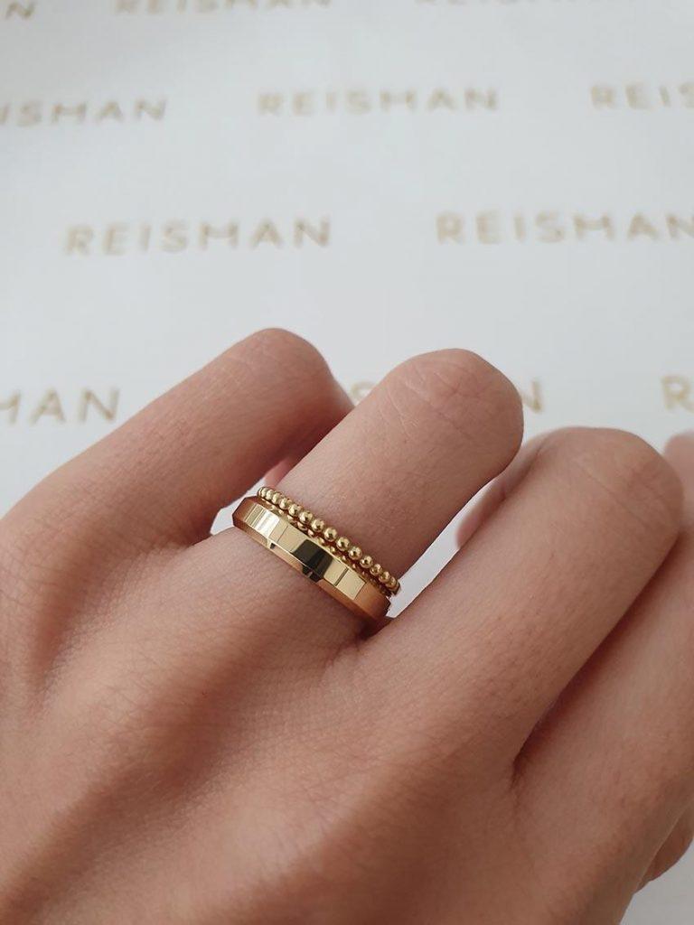 aliança de casamento e aparador em ouro 18k