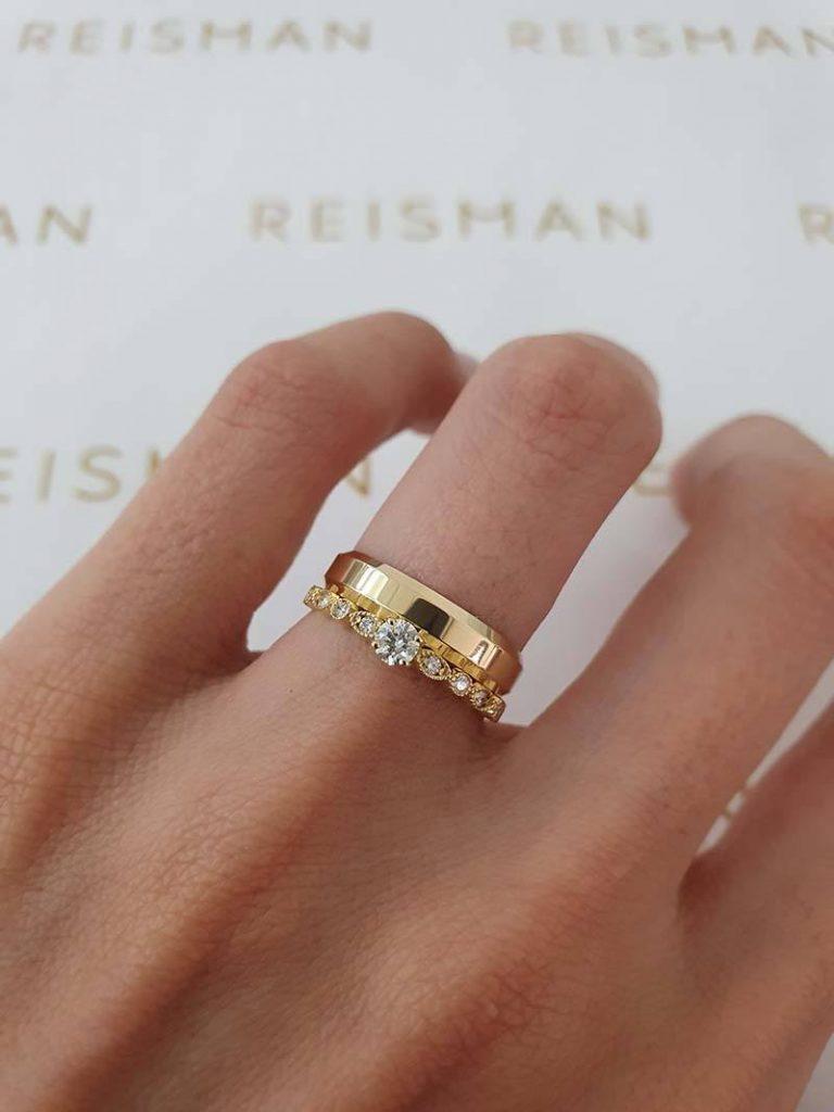 anel de noivado e aliança em ouro 18k