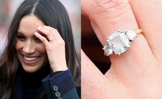 anel de noivado três diamantes Megan Markle