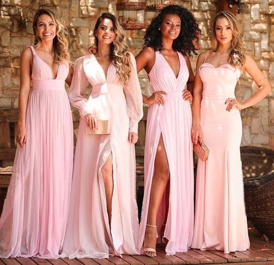 vestidos de madrinhas na cor rosa