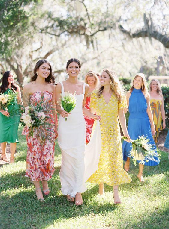 vestidos de madrinhas com cores diferentes