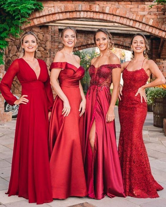 vestidos de madrinhas na cor vermelha
