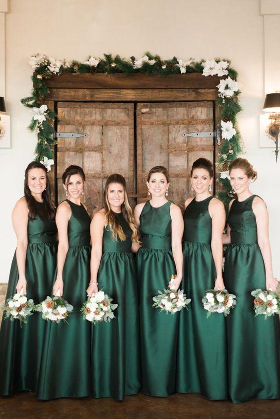vestidos de madrinhas na cor verde escuro