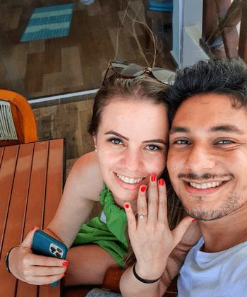 pedido surpresa em Cancún com anel de noivado