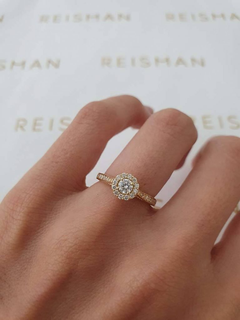 Anel de Noivado halo ring