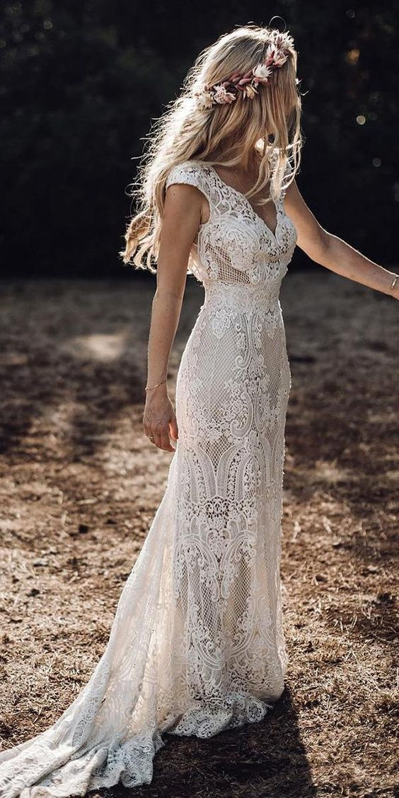 vestido em renda para noiva boho