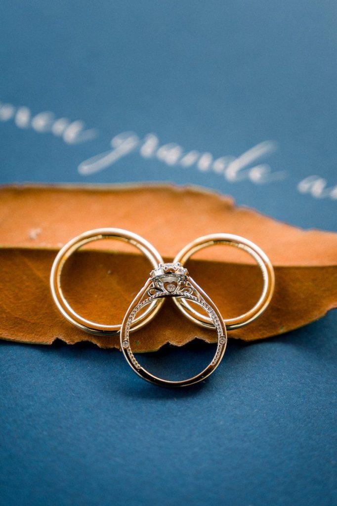 alianças e anel de noivado para casamento no campo