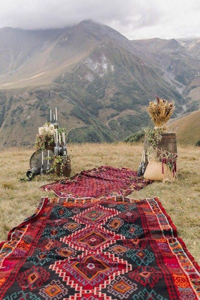casamento boho com tapetes