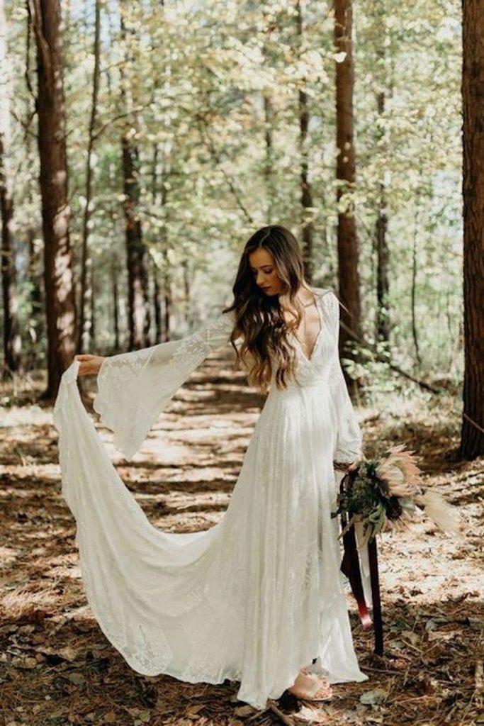 vestido noiva boho com tecido leve