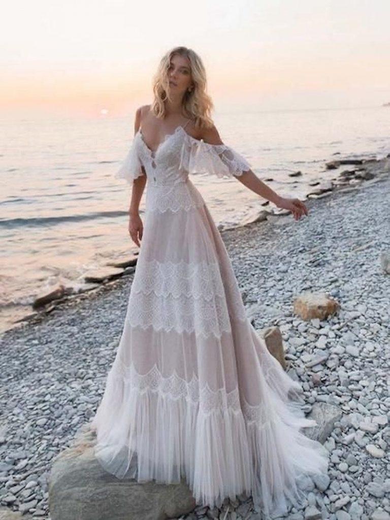 vestido de noiva boho fluido