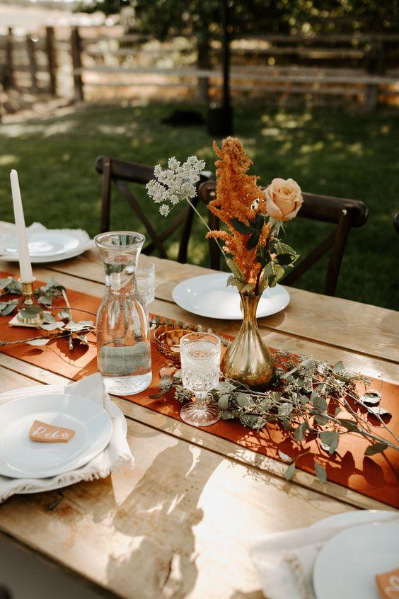 mesa decorada casamento boho