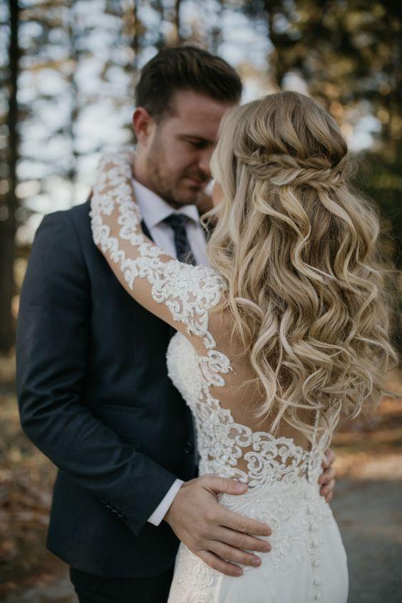 cabelos soltos para noivas boho